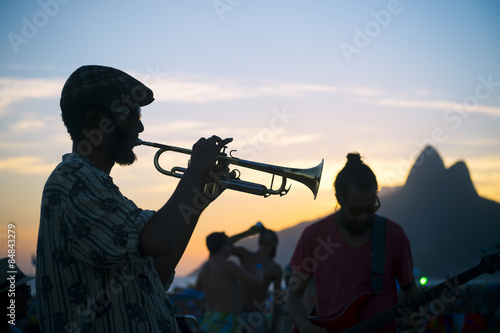 Silhouettes of Musician and Audience Arpoador Rio Brazil