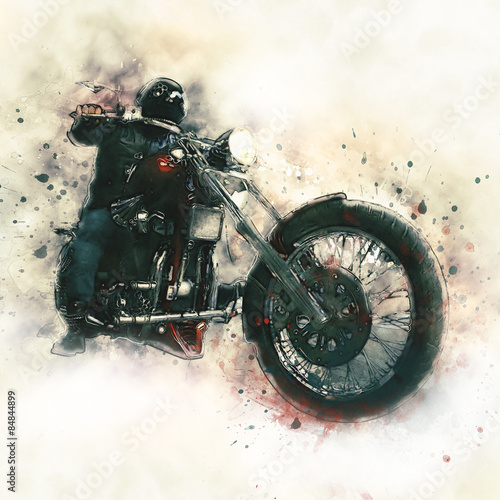 Biker on a motorcycle Canvas Print