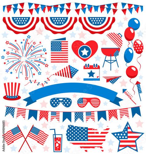 Fotografia  USA celebration flat national symbols set for independence day i