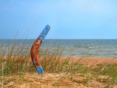 Color boomerang on overgrown sandy beach. Canvas Print