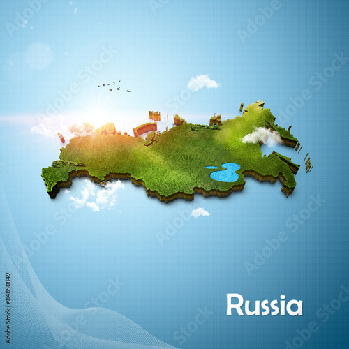 Fotografie, Tablou Realistic 3D Map of Russia