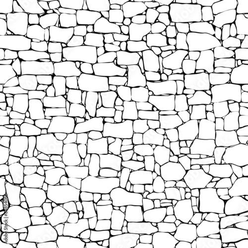 Bezszwowe ściany z kamieni o różnych rozmiarach (rysowane tuszem).