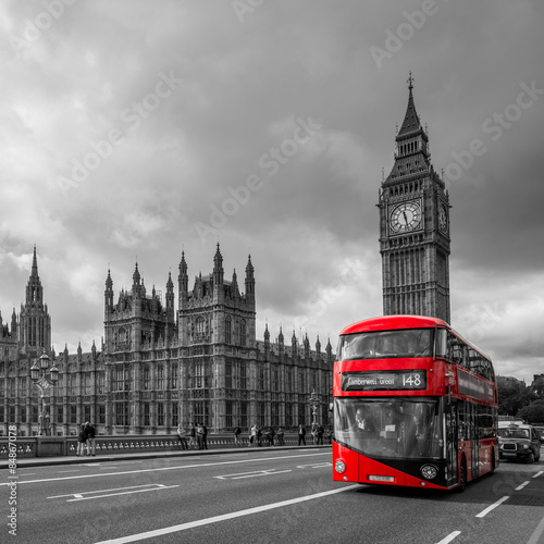 Türaufkleber London roten bus Houses of Parliament and a bus, London, UK