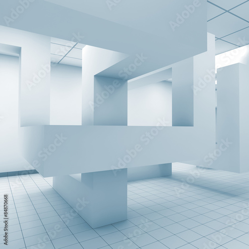 Abstract blue office room interior, 3d illustration #84870668