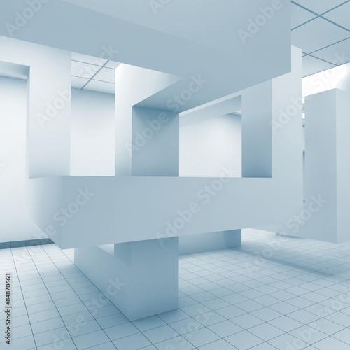 Abstract blue office room interior, 3d illustration #84870668