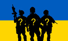 Silhouette Of Military Soldier Or Officer With Weapons Against The Ukrainian Flag  Background