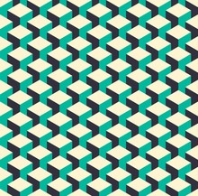 Abstract Isometric 3d Retro Cube Pattern Background
