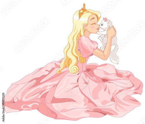 Printed kitchen splashbacks Fairytale World Princess and Cat