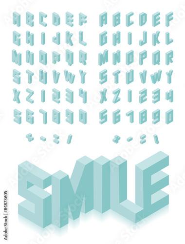 Fotografía  Isometric 3d type font set