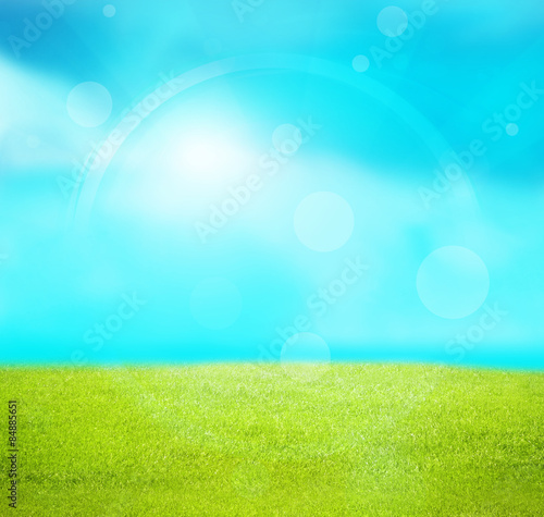 Photo Stands Turquoise summer landscape background