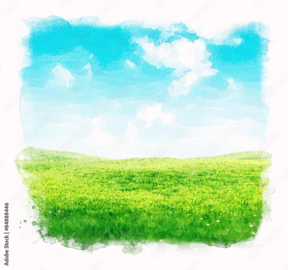 Akwareli nieba i trawy tło