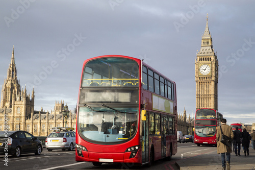 Deurstickers Londen rode bus UK - London - Red Double Decker Bus