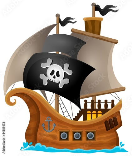 Printed kitchen splashbacks For Kids Pirate ship topic image 1