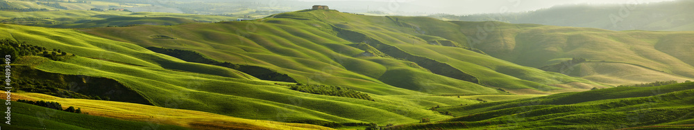 Fototapeta Green Tuscany hills - panorama