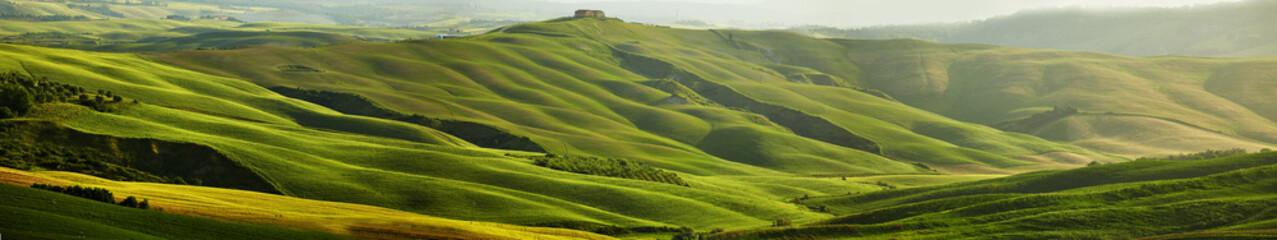 Panel Szklany Green Tuscany hills - panorama