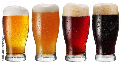 Glasses of beer on white background. Poster