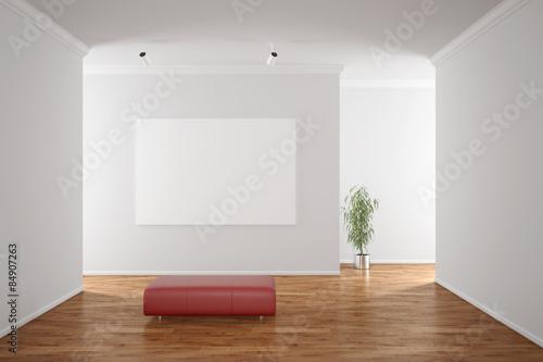Fotografía  Leere Leinwand an Wand in Galerie