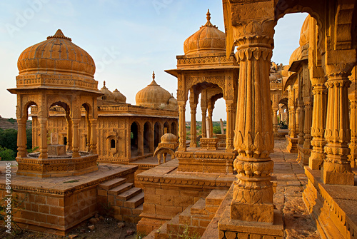 Tuinposter India Royal cenotaphs in Jaisalmer, Rajasthan, India