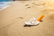 Closeup shot of slippers and sunblock lotion lying on seashore