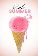 Ice Cream. Watercolor Vector Background