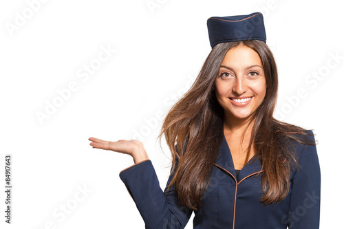 Portrait of a woman dressed as a stewardess on a white background