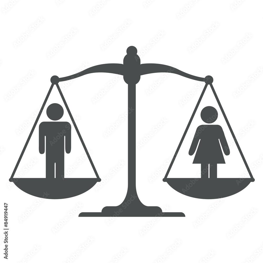 Fotografía Icono Balanza Con Simbolo Hombre Mujer Gris