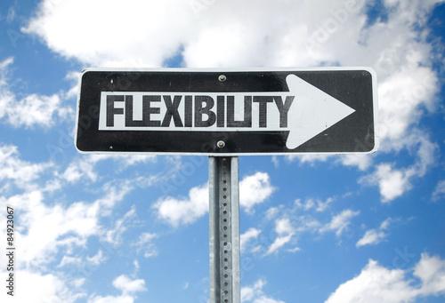 Valokuvatapetti Flexibility direction sign with sky background