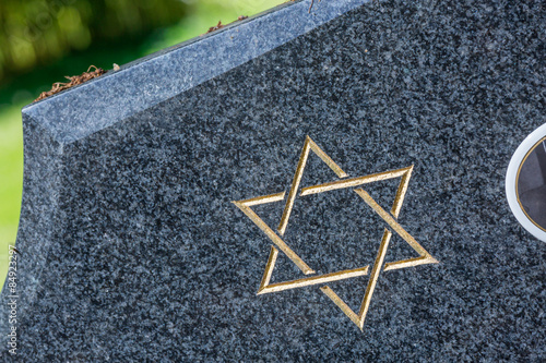 Jewish cemetery: Star of David on the tombstone Canvas Print