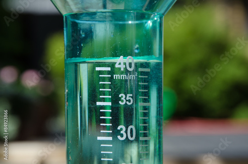 Photo  Filled rain gauge