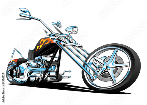 Custom American Chopper Motorcycle Vector Illustration Wallpaper Mural