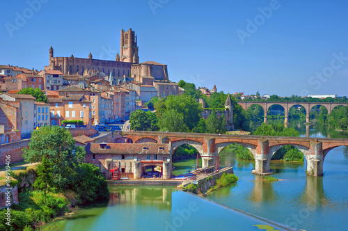 View of the August bridge and Saint Cecile church in Albi, France Canvas Print