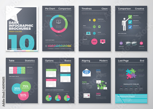 Photo  Black background infographic brochures and flat colorful style