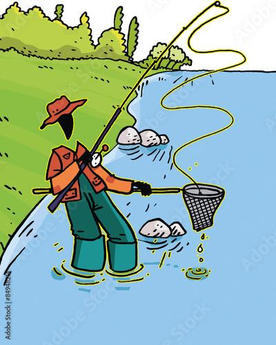 Photo  personnage fun, pêcheur et décor