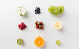 Fototapeta Fototapety do kuchni - ripe fruits and berries on white surface