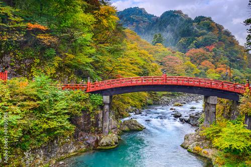 Keuken foto achterwand Bruggen Nikko, Japan at the Shinkyo Bridge over the Daiwa River.