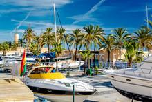 Moored Boats In The Fuengirola Seaport. Malaga, Spain