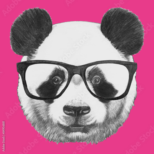 Photo  Hand drawn portrait of Panda with glasses