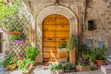 Elegante Porta Di Legno Con Vasi Di Fiori