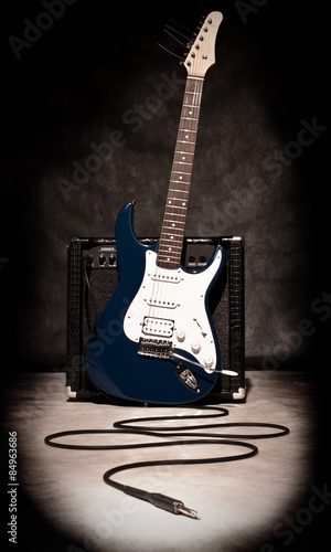 electric guitar and amplifier Canvas Print