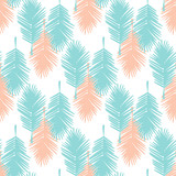 Seamless tropical palm leaves illustration background pattern. - 84968641