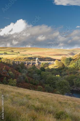 Craig Goch Dam and reservoir from distance, evening light, fall Canvas Print