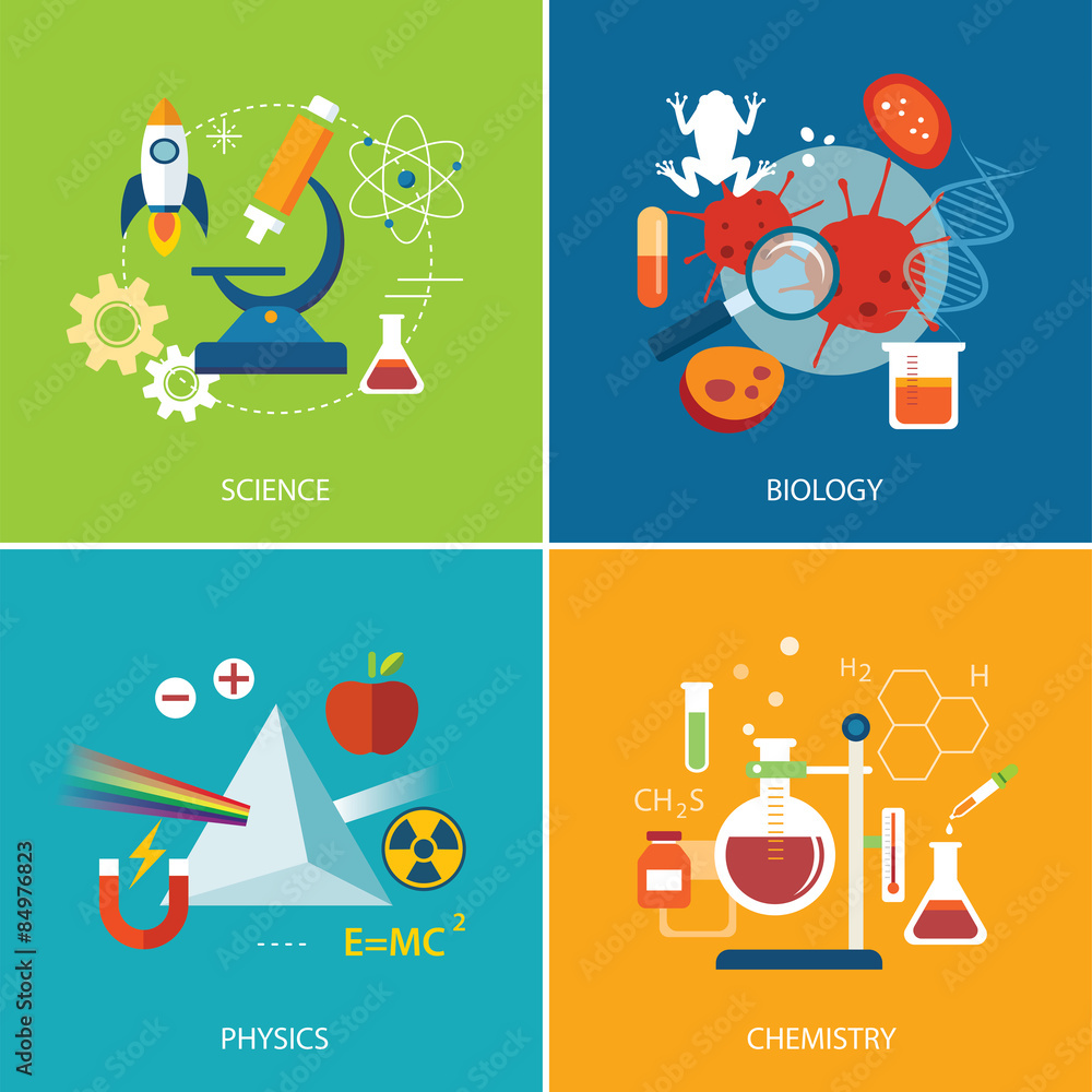 Fototapeta science concept ,physics ,chemistry,biology flat design