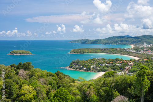 Fotografie, Obraz  Beautiful turquoise ocean waves with boats and coastline from high view point