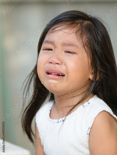 Cute Little Asian Girl Crying
