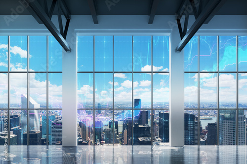Contemporary office with New York view Canvas Print