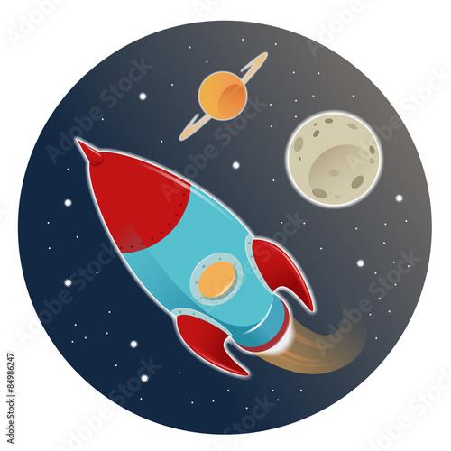 Foto op Canvas Kosmos Rocket