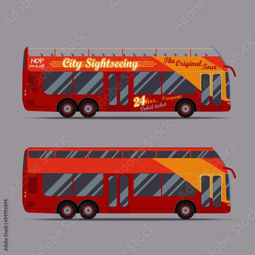 Leinwand Poster Roter Doppeldeckerbus