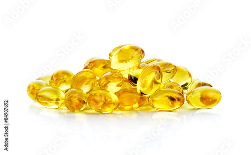 Valokuva  fish oil capsules isolated on the white background