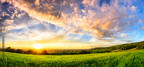 Poster Lavender Panorama of a colourful sunset on a green meadow