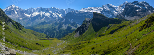 Fotobehang Bergen Mountain landscape - Switzerland Alps Panorama